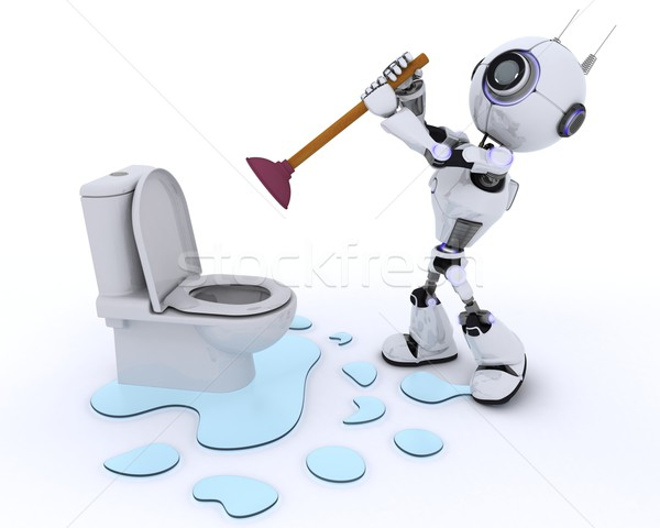 Robot robot plumber fixing a leak Stock photo © kjpargeter