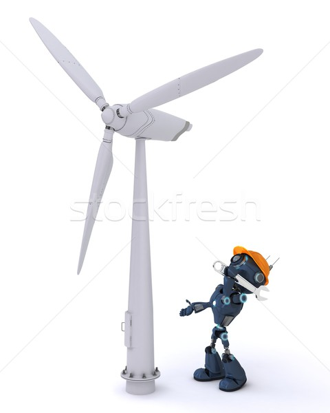 Android szélturbina 3d render férfi robot erő Stock fotó © kjpargeter