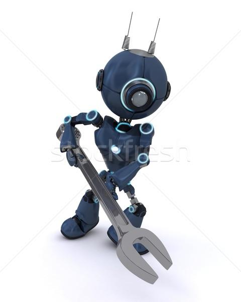 Android Schraubenschlüssel 3d render Mann Tool Reparatur Stock foto © kjpargeter