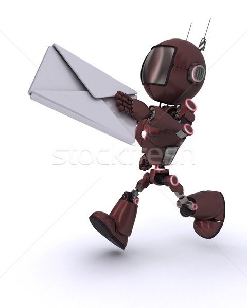 Android brief 3d render man mail Stockfoto © kjpargeter