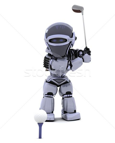 Foto d'archivio: Robot · club · giocare · golf · rendering · 3d · palla
