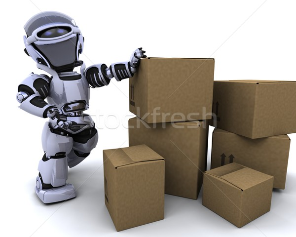 Photo stock: Robot · déplacement · expédition · cases · rendu · 3d · avenir