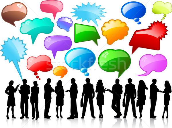 Zdjęcia stock: Działalności · sylwetki · ludzi · biznesu · rozmowy