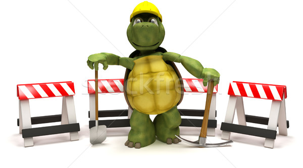 tortoise with a spade and pick axe with hazard barriers Stock photo © kjpargeter