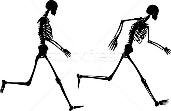 Foto stock: Não · descrição · corrida · crânio · silhueta · correr