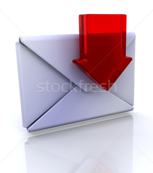 Downloaden mail icon 3D internet ontwerp Stockfoto © kjpargeter