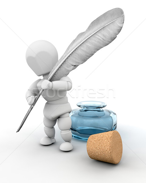 man with ink well and feather quill Stock photo © kjpargeter