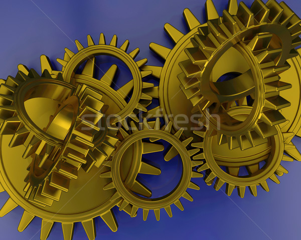 Interlocking gears Stock photo © kjpargeter