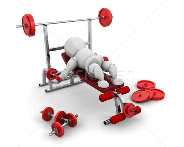 Gewichtheffen 3d render iemand gewichten man Stockfoto © kjpargeter