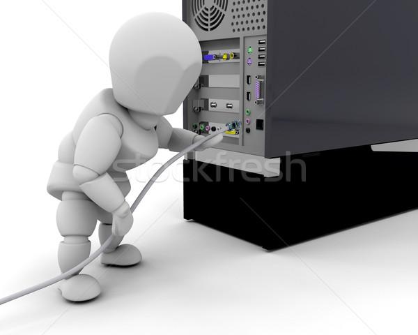 кабеля 3d визуализации кто-то компьютер женщину человека Сток-фото © kjpargeter