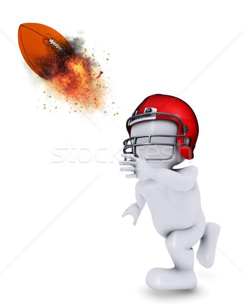 Morph Man throwing flaming Americal football Stock photo © kjpargeter