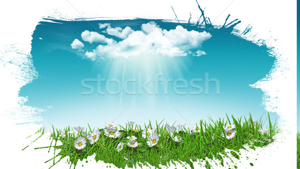 3D daisies in grass with cloud with grunge splat effect Stock photo © kjpargeter