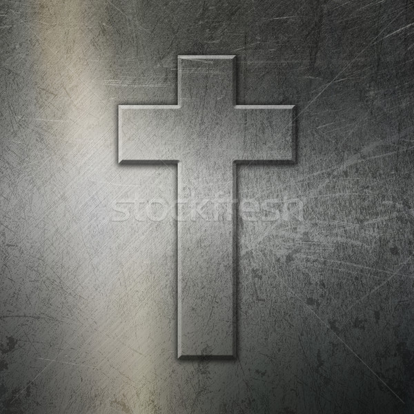 Grunge brushed metal background with cross Stock photo © kjpargeter
