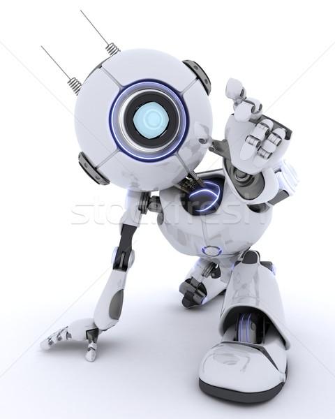 Robot uit touch iets 3d render man Stockfoto © kjpargeter