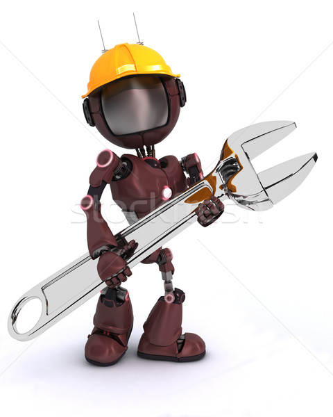 Androide constructor llave hacer hombre construcción Foto stock © kjpargeter