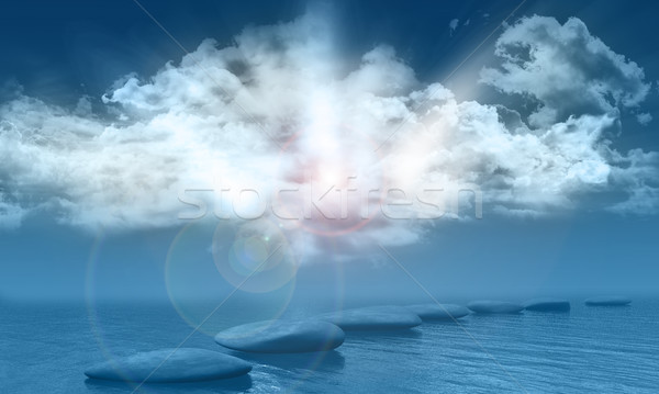 Sunny blue sky over sea with stepping stones Stock photo © kjpargeter