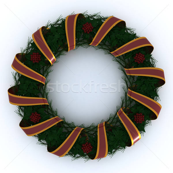 Christmas Garland wrapped in ribbon Stock photo © kjpargeter