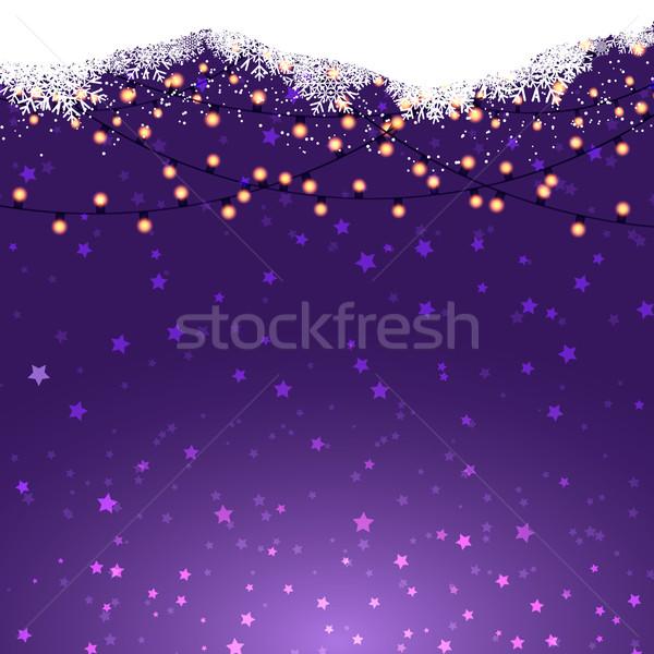 Christmas lights on a starry background Stock photo © kjpargeter