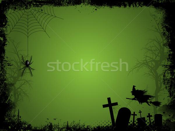 Halloween grunge witch wiszący pająk krzyż Zdjęcia stock © kjpargeter