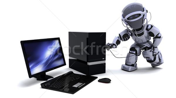 Robot számítógép sztetoszkóp 3d render internet billentyűzet Stock fotó © kjpargeter