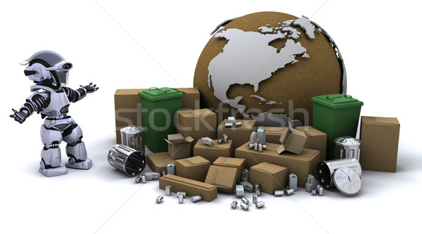 Robô cesto de lixo 3d render lixo futuro plástico Foto stock © kjpargeter