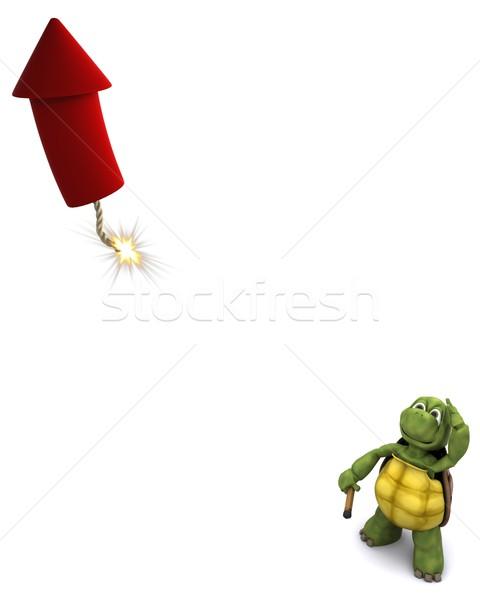 черепаха освещение фейерверк 3d визуализации воды фейерверк Сток-фото © kjpargeter