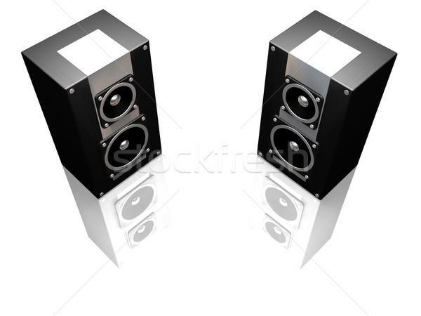 Noir orateurs rendu 3d orateur sonores concept Photo stock © kjpargeter