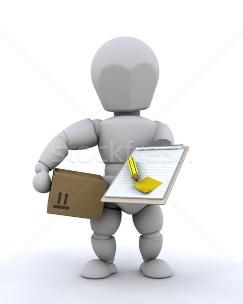 Mensajero 3d paquete portapapeles transporte entrega Foto stock © kjpargeter