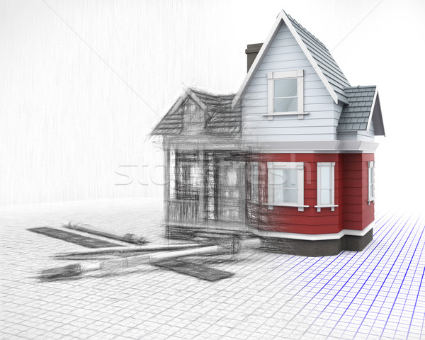 3D timber house on a grid with drawing instruments with half in  Stock photo © kjpargeter