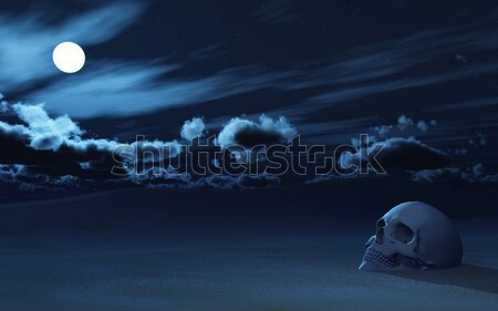3D ship on a moonlit water Stock photo © kjpargeter