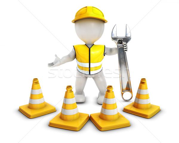 3D człowiek budowniczy ostrożność 3d Zdjęcia stock © kjpargeter