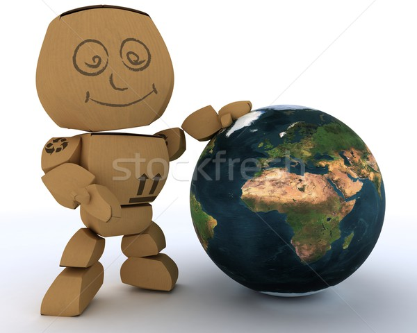 Cardboard Box figure with globe Stock photo © kjpargeter