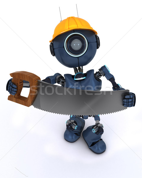 Android oluşturucu testere 3d render adam inşaat Stok fotoğraf © kjpargeter