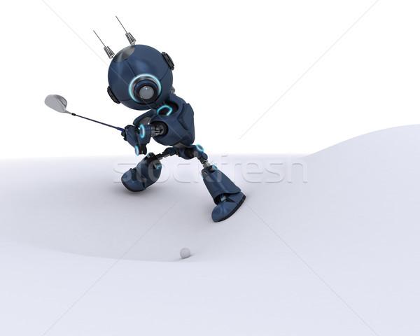 Android játszik golf 3d render klub labda Stock fotó © kjpargeter