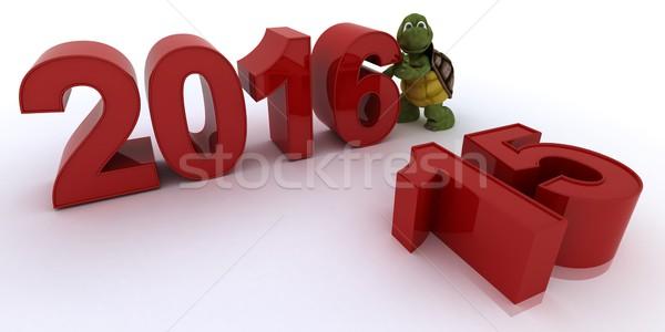 черепаха Новый год 3d визуализации воды оболочки праздник Сток-фото © kjpargeter