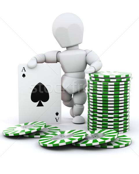 Férfi kaszinó zsetonok kártyapakli 3d render kaszinó póker Stock fotó © kjpargeter