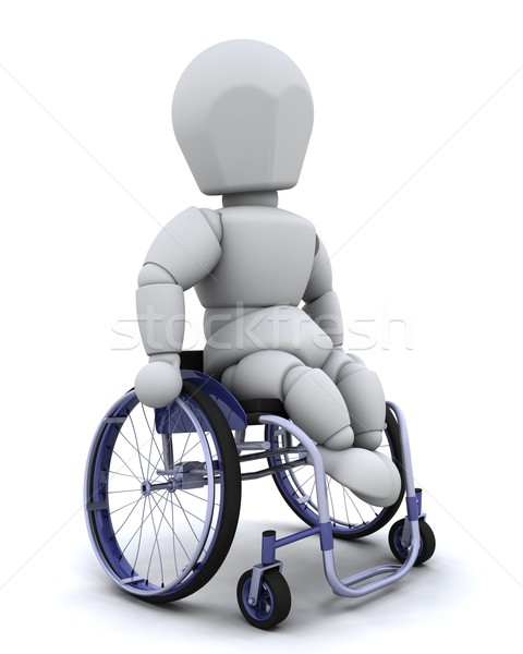 man in wheelchair isolated on white Stock photo © kjpargeter