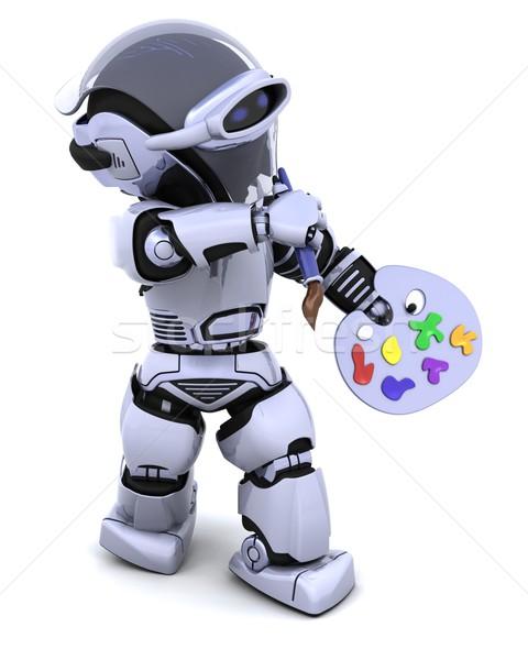 Zdjęcia stock: Robot · pędzlem · 3d · farby · przyszłości · malarz
