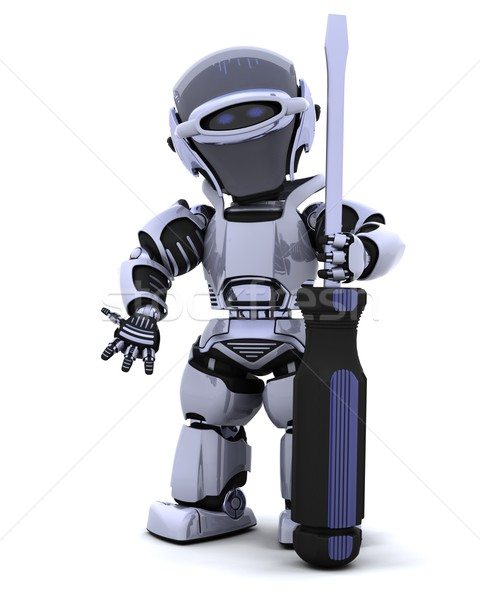 robot with a screwdriver Stock photo © kjpargeter