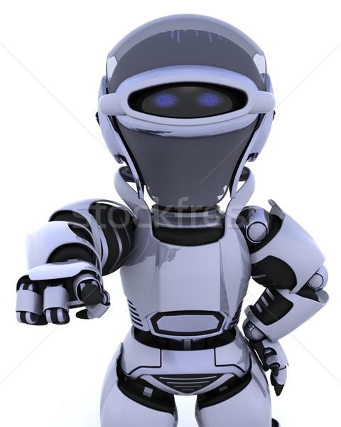 Robot 3d render mutat hát ki jövő Stock fotó © kjpargeter