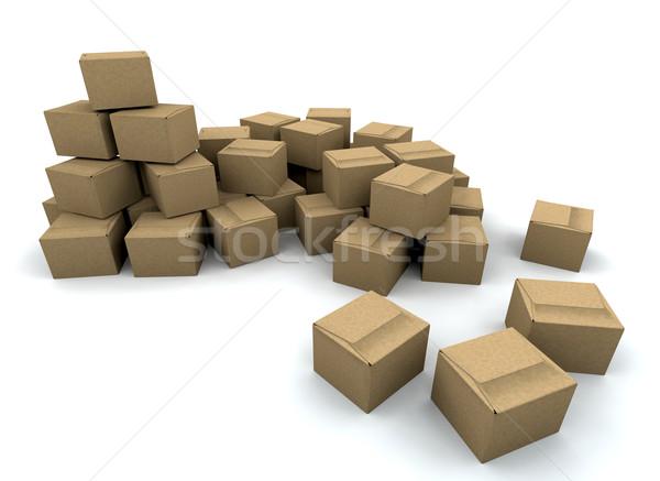 Photo stock: Cases · rendu · 3d · boîte · livraison · échanges