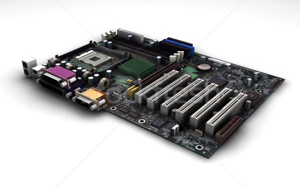 Placa-mãe 3d render computador fundo circuito arame Foto stock © kjpargeter