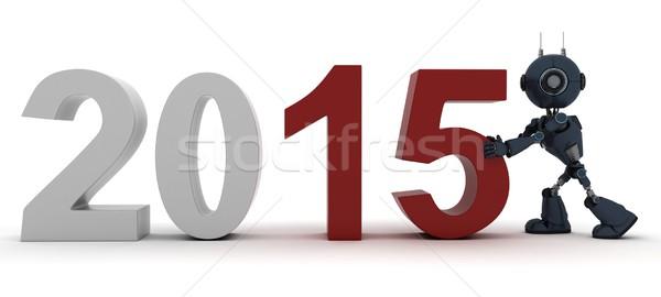 Android yılbaşı 3d render yeni yıl Stok fotoğraf © kjpargeter