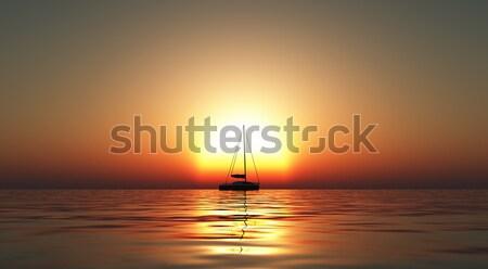 Jacht zee zonsondergang 3d render strand hemel Stockfoto © kjpargeter