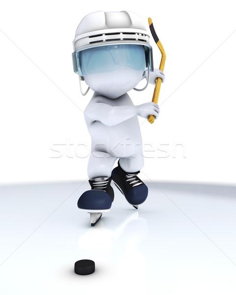 3D férfi játszik jégkorong 3d render jég Stock fotó © kjpargeter