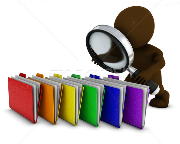 3D Morph Man searching folders with magnifying glass Stock photo © kjpargeter