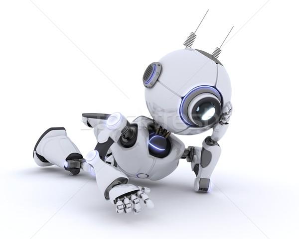 Stok fotoğraf: Robot · rahatlatıcı · 3d · render · adam · gelecek · modern