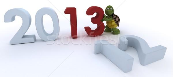 Teknősbéka új év 3d render víz kagyló ünnep Stock fotó © kjpargeter
