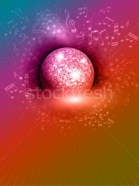 Mirror ball background with music notes Stock photo © kjpargeter