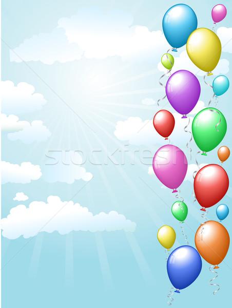 Balões flutuante céu colorido ensolarado blue sky Foto stock © kjpargeter